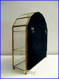 Vtg Franklin Mint Glass Mirror Back Brass Small Curio Wall Cabinet Display Case