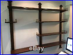 Vtg French Style Wood Brass Wall Display Adjustable Shelves- Baker Furniture