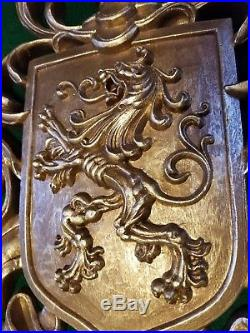 Vtg GOLD BURWOOD RAMPANT LION ARMOR CROWN SHIELDS WALL PLAQUES Matching Set of 5