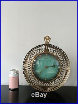 Vtg German 1950s Mid Century ATLANTA UNIVERS Junghans Brass Sunburst Wall Clock