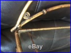 Vtg Gold brass Metal Glass Wall Shelf faux bamboo Mid Century Hollywood Regency