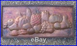 Vtg Hammered Copper Shabby Fruit Bounty Farm House Cottage Rustic Wall Plaque