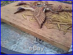 Vtg Hand Carved Wood Flying Game Duck Decoy Hunting 21 Wall Hanging Plaque Sign
