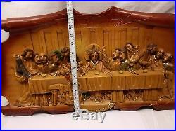 Vtg Hand Carved Wood Jesus Last Supper Large Plaque Wall Hanger Relief Apostles