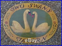 Vtg Hand Painted Oval Wall Business Sign Plaque Two Swans Tavern Bar Shabby Chic