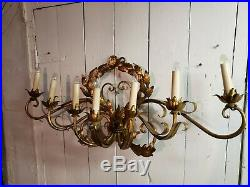 Vtg Hollywood Regency Metal Wall Sconce 7 Electric Candle Italian sculpture tole