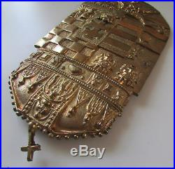Vtg Hungarian Hungary Large Brass Crest Plaque Wall Decor Hanging Coat Of Arms