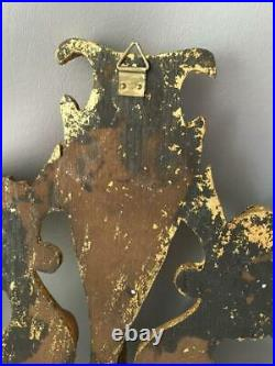Vtg Italian Gold Gilt Wood Neoclassical Figure Wall Appliqué Plaque Pediment