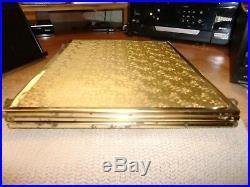 Vtg Large Tri-fold Brass Framed Mirror/tabletop Or Wall Hanging, Embossed Back
