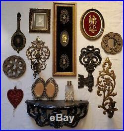 Vtg Lot 13 Wall Decor Italy Plaques Mirrors Shelves Hollywood Regency Cameos