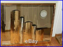 Vtg MCM 36 Brass Skyscape Mirror 3d Wall Art Sculpture Jere Era City Buildings