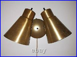 Vtg MCM Wall Lamp Double Swivel Cone Sconce Brass Colored Light Fixture