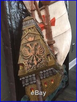 Vtg MID Century Nautical Ship Wall Art Hanging Plaque Sculpture Antique Maritime