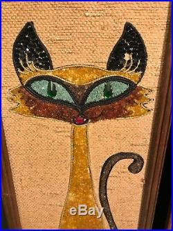 Vtg. MID Century Wall Art Plaque Siamese Black Cat Mod Mosaic Gravel A Must See
