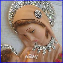 Vtg MaDonnA wall religious Plaque MARY Chalkware old plaster baby jesus