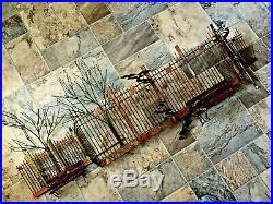 Vtg Metal SIGNED C. Jere Boy On Park Bench Wall Sculpture Brutalist MCM Brass