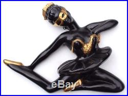 Vtg Mid Century Black & Gold Ballet Dancer Leaping Lady Chalk Wall Plaque Decor