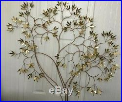 Vtg Mid Century Large Curtis Jere Bamboo Tree Metal Brass Copper Wall Sculpture