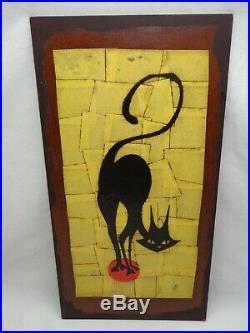 Vtg Mid Century Modern Cat Plaque 1960s Atomic Tiki / Danish Mod Wall Sculpture