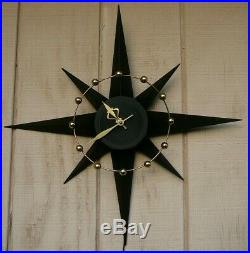 Vtg Mid Century Modern Spartus Atomic Space Age Starburst Wall Clock Real Cool