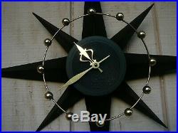 Vtg Mid Century Modern Spartus Atomic Space Age Starburst Wall Clock Real Cool