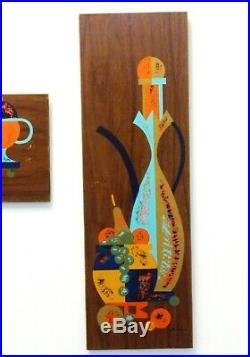 Vtg Mid Century Modern Wall Art Plaques Aqua Orange Gold 1950s-60s Entertaining