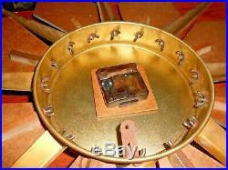 Vtg Mid Century Star Burst Clock Eames Era Deco Walnut/Brass 31