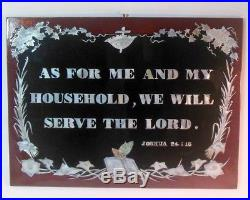 Vtg Mother of Pearl Inlaid Plaque Wall Hanging Christian Religion Joshua