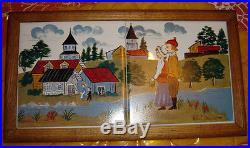 Vtg Ooak Folk Art Country Life Haindpainted Ceramic Tile Wall Plaque Signed