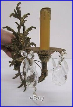 Vtg Pair 2 Brass Candelabra Sconce Wall Light Lamp 1 Arm Electric Candle Spain