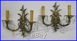 Vtg Pair 2 Brass Candelabra Sconce Wall Light Lamp 2 Arm Electric Candle Spain
