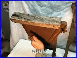 Vtg Pair Gothic Cast Iron Movie Theater Seat Cast Iron Ends Wall Sconce Plaque