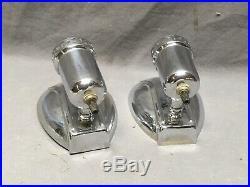Vtg Pr Chrome Brass Sconce Milk Glass Shades Deco Wall Light Fixtures 212-20E