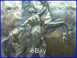 Vtg REARING HORSE Art Wall Plaque raised ornate Rodale Metal Art Emmaus Pa