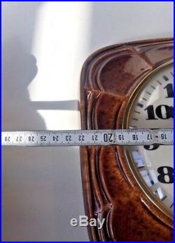 Vtg Rare Ceramic Modernist 1960s Wall Clock Brass Glass German Junghans Quartz