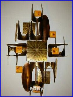 Vtg Retro Brutalist Abstract Copper Enamel Voss Jere Era Wall Art Sculpture