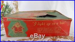Vtg SANTA-GLO Light Up Tree Topper Wall Plaque Lighted Xmas Blow Mold Glolite