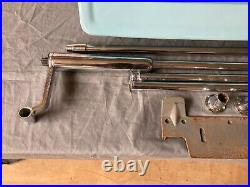 Vtg Shelf Sky Blue Porcelain Wall Sink Chrome Brass legs Old Standard 78-21E