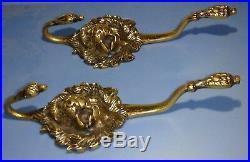 Vtg. Solid brass lion head vintage coat & hat hook wall hangers made in England