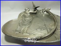 Vtg WMF Art Nouveau Metalware Wall Plaque Card Tray Maiden & Bird