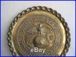 Vtg WWII USMC MARINE CORPS EGA HAND HAMMERED WALL PLAQUE EMBLEM TRENCH ART HUGE
