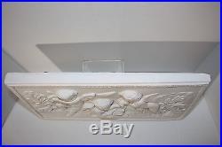 Vtg White Musical Cherubs Dimensional Wall Plaque Mural Plaster Relief Angels
