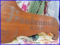 Vtg wooden frankenmuth beer ale bar sign wood hanging wall plaque Dachshund dog