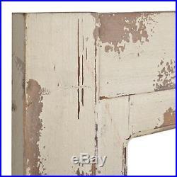 Wall Door Wooden Vintage Wall Plaque Distressed Cream Finish Open Window Accents