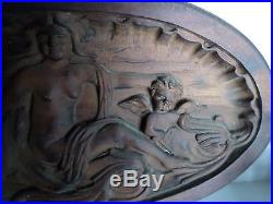 Wall Hanging Hand Carved Wooden Vintage Plaque