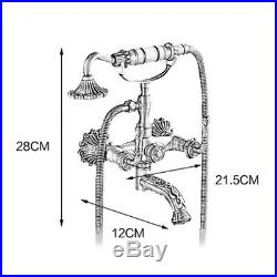 Wall Mount Bath Shower Tub Faucet With Hand Shower Sprayer Kitchen Gold Antique US