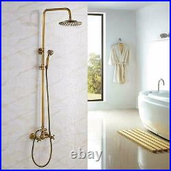 Wall Mount Shower Faucet Set 8Rain Head Combo Hand Shower Tub Filler Mixer Taps