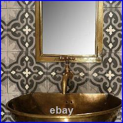 Wall mounted sink brass patina-vintage Bathroom hand-hammered sink Artisanal
