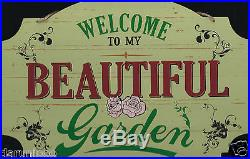 Welcome to My Garden Vintage Shabby Chick Large Wooden Wall Hanging Plaque Sign