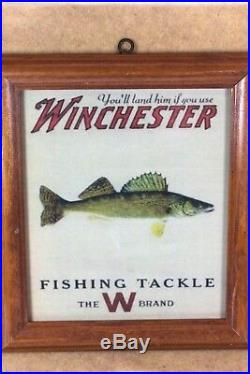 Winchester Fishing Tackle Bait Store Display Wall Plaque The W Brand Framed